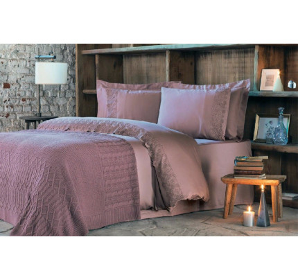 Набор Tivolyo Home Regina (постельное белье + плед) фиолетовый евро