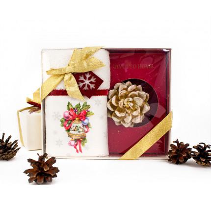 Новогодний набор Tivolyo Home Ribbon Velvet (салфетка 30х50 + свеча)