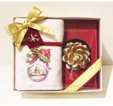 Новогодний набор Tivolyo Home Snowball Velvet (салфетка 30х50 + свеча)