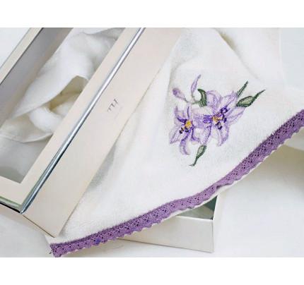 Полотенце Tivolyo Giglio Nakisli (лиловое) 50x100