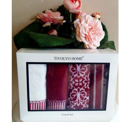 Набор салфеток Tivolyo Casablanca (4 предмета, бордовый) 40x60