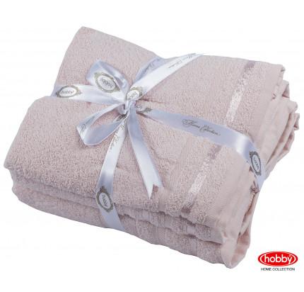 Набор полотенец Hobby Home Nisa пудра (50x90+70x140 - 2 предмета)
