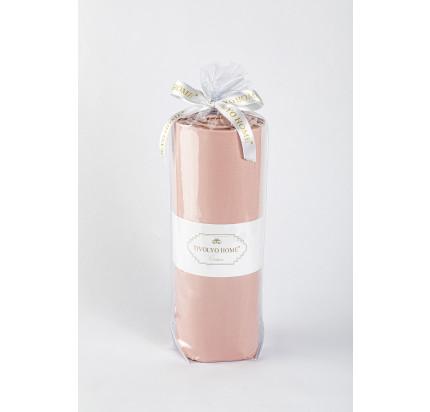 Сатиновая простынь на резинке Tivolyo с наволочками (темно-розовый)