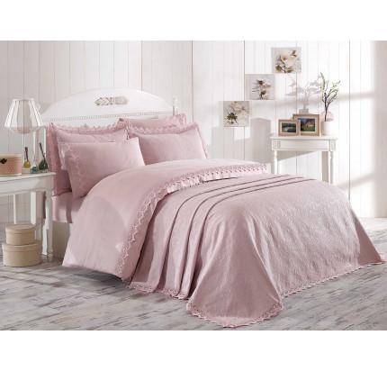 Набор постельного белья с покрывалом Hobby Home Elite Set (пудра) евро