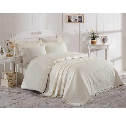 Набор постельного белья с покрывалом Hobby Home Elite Set (кремовый) евро