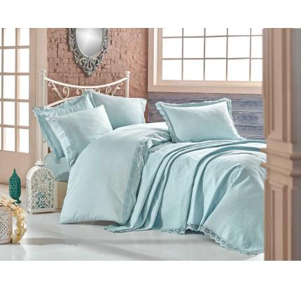 Набор постельного белья с покрывалом Hobby Home Elite Set (минт) евро