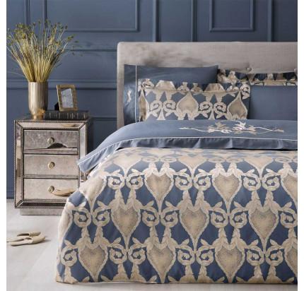 Постельное белье Tivolyo Home Berta с вышивкой (синий) евро