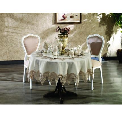 """Скатерть круглая Finezza """"Royal"""" 180 см и салфетки 8 шт бежевый"""
