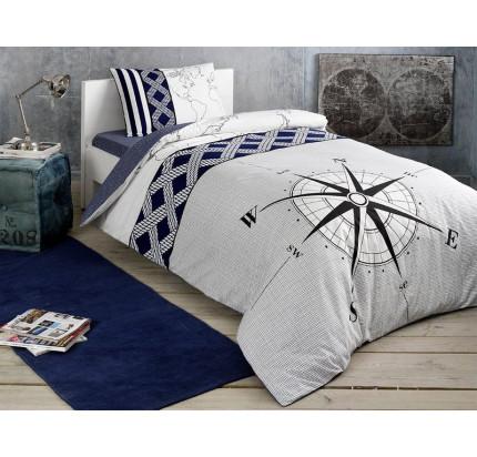 Постельное белье TAC Navy (темно-синий) 1.5-спальное