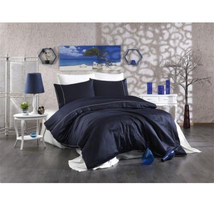 Постельное белье Grazie Home ALIX тёмно-синий/кремовый евро