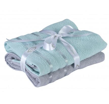 Набор полотенец Hobby Home Nisa бирюзово-зеленый-светло-серый (50x90 - 2 предмета)