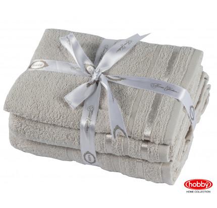 Набор полотенец Hobby Home Nisa бежевый (30x50+50x90+70x140 - 3 предмета)