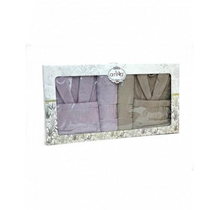 Набор халатов Arliva мужской+женский с полотенцами V-12