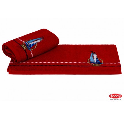 Полотенце Hobby Home Collection Marina красный парусник 50x90