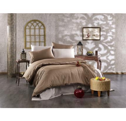 Постельное белье Grazie Home ALIX коричневый/тёмно-коричневый евро