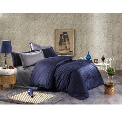 Постельное белье Grazie Home ALIX тёмно-синий/антрацит евро
