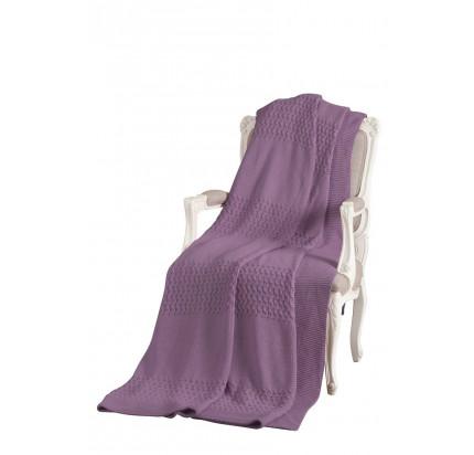 Вязаный плед Tivolyo Home Vika фиолетовый 220x240