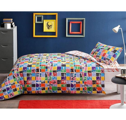 Постельное белье TAC Graffiti Square 1.5-спальное
