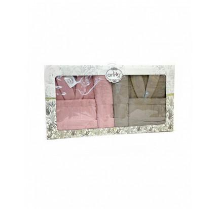 Набор халатов Arliva мужской+женский с полотенцами V-11