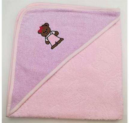 Полотенце-конверт Valtery Медвежонок (светло-розовый) 70x70