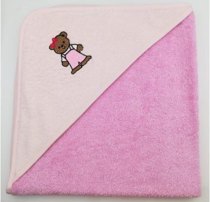 Полотенце-конверт Valtery Медвежонок (темно-розовый) 70x70