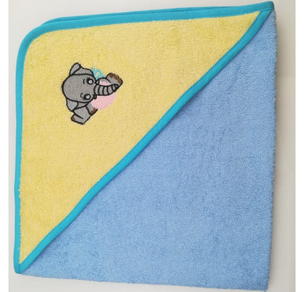 Полотенце-конверт Valtery Слоненок (желто-голубой) 70x70