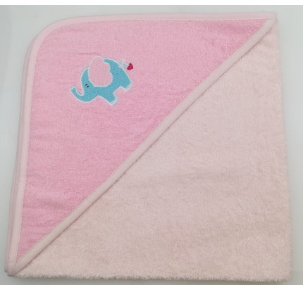 Полотенце-конверт Valtery Слоненок (светло-розовый) 70x70