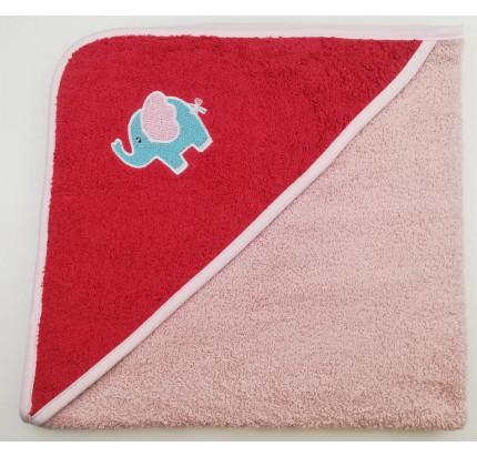 Полотенце-конверт Valtery Слоненок (коралловый) 70x70