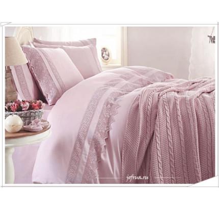 Свадебный набор Gelin Home Erguvan с пледом (розовый) евро