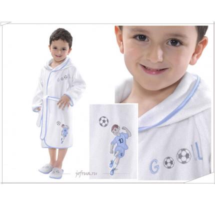 Халатик детский Soft cotton Footballer (голубой)