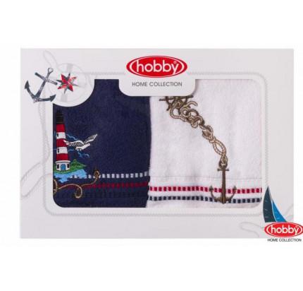 Набор полотенец Hobby Home Marina (2 предмета, белый-синий)