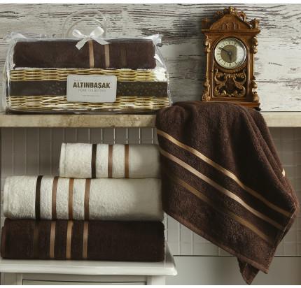 Набор полотенец Altinbasak Dolce (кремовый-коричневый, 4 предмета)