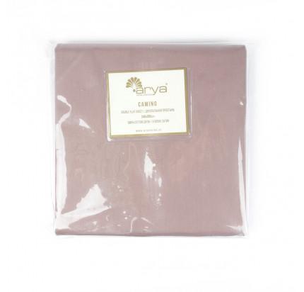 Сатиновая простынь Arya Camino (светло-коричневая)