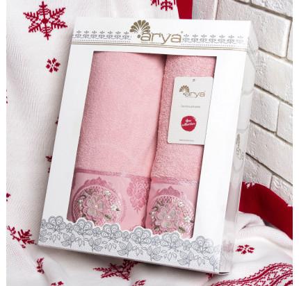 Набор полотенец Arya Palona (2 предмета, розовый)