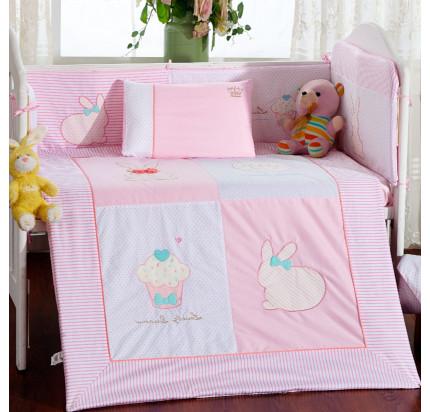 Детское белье в кроватку Arya Rabbit (розовое)
