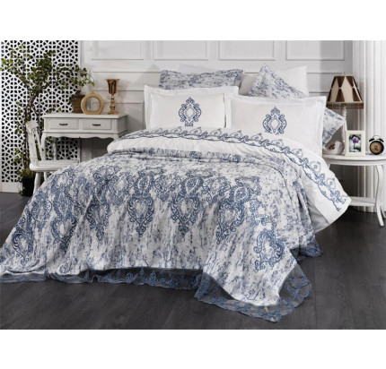Комплект с покрывалом Evelina Polina крем-голубой 6 предметов