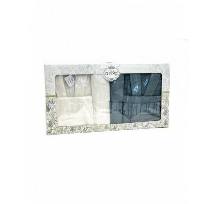 Набор халатов Arliva мужской+женский с полотенцами V-10
