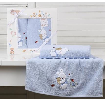 Набор полотенец Karna Bambino Bunny (2 предмета, голубой)