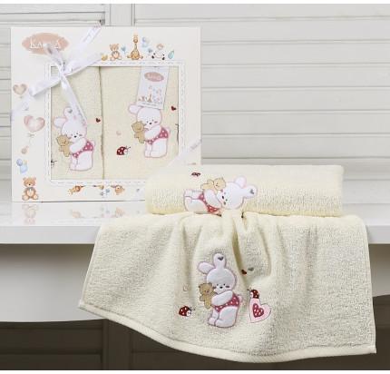 Набор полотенец Karna Bambino Bunny (2 предмета, молочный)