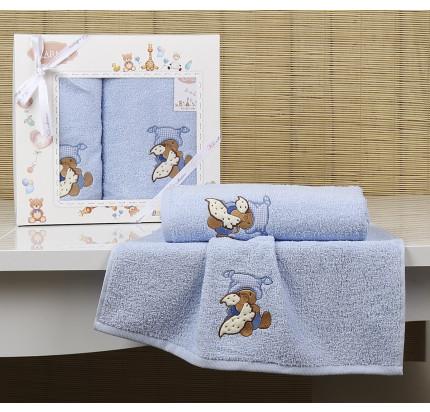 Набор полотенец Karna Bambino Teddy (2 предмета, голубой)