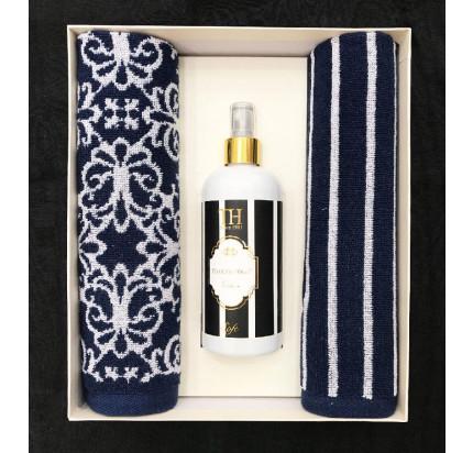 Набор полотенец Tivolyo Casablanca Flower (40x60, 2 предмета + ароматизатор) темно-синий