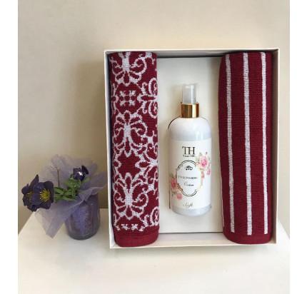 Набор полотенец Tivolyo Casablanca Flower (40x60, 2 предмета + ароматизатор) красный