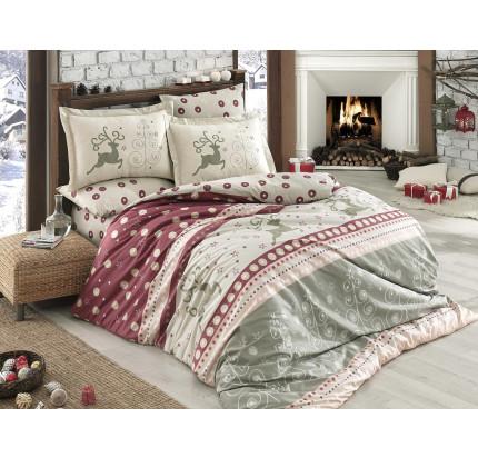 Постельное белье Hobby Home фланель Ludovica (бордовый)