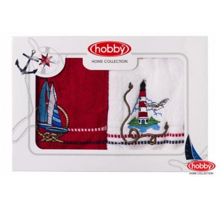 Набор полотенец Hobby Home Marina (2 предмета, белый-красный)