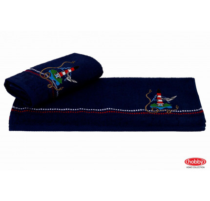 Полотенце Hobby Home Collection Marina синий маяк 50x90