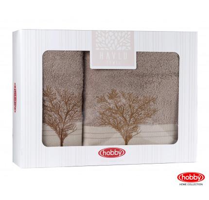 Набор полотенец Hobby Home Infinity в коробке (2 предмета, св.коричневый)