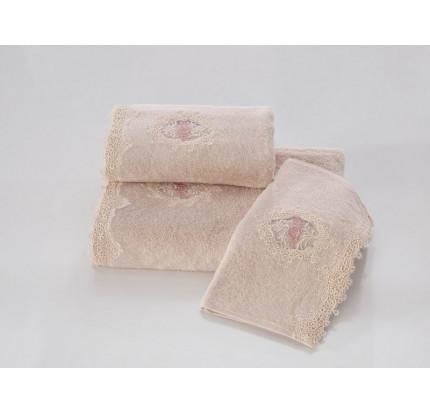 Набор салфеток Soft Cotton Destan (3 предмета, пудра)