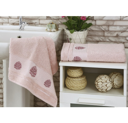 Набор полотенец Karna Devon (розовый, 2 предмета)