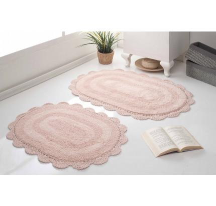 Набор ковриков для ног Modalin Diana (пудра) 50x80+45x60