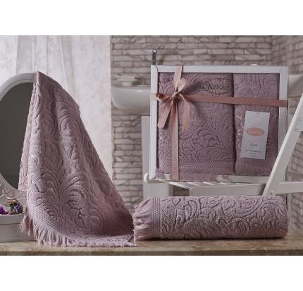 Набор полотенец Karna Esra (грязно-розовый, 2 предмета)